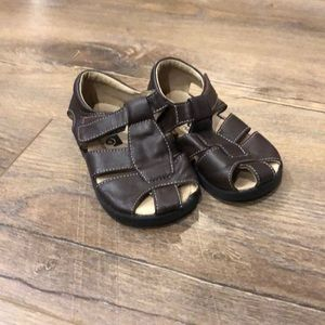 Brown leather Velcro boys sandals